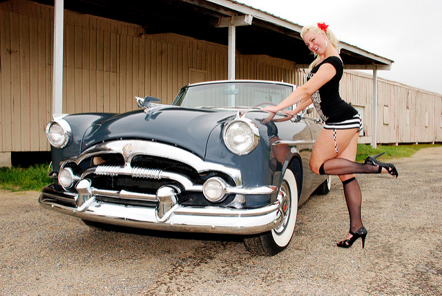 Wroclaw event- custom car and pin-up girl.