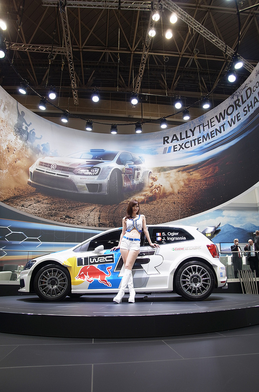 Girl and a car during Tokyo Motor Show