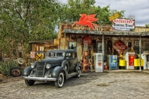 Shop on Route 66 with vintage car